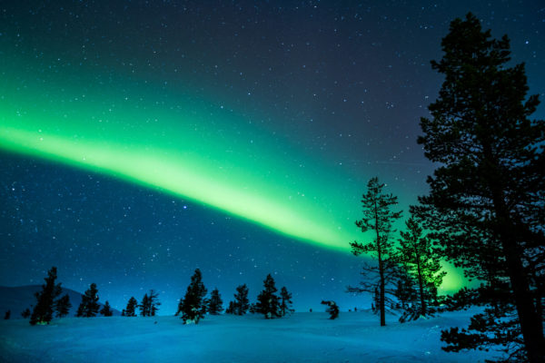 Finnland Schnee Polarlichter