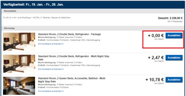 Expedia günstiges Zimmer aussuchen