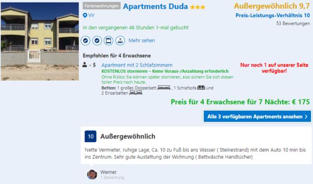 8 Tage Kroatien mit TOP Apartment mit Meerblick und Flug für 104 ...