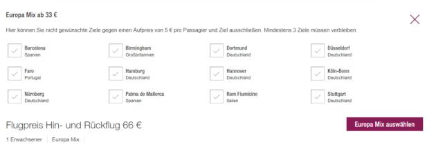 Blind Booking Eurowings
