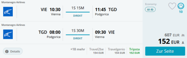 Flug Wien Podgorica