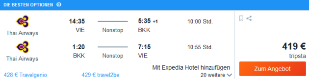 Flug Wien Bangkok