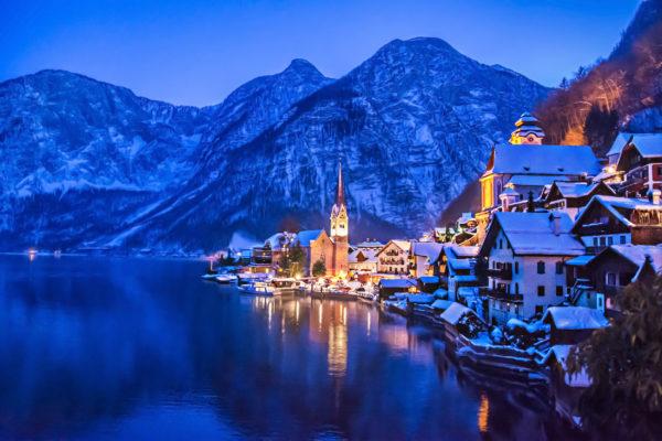 Österreich Hallstatt Winter Licht