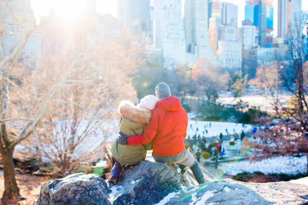 New York Winter Schnee Paar