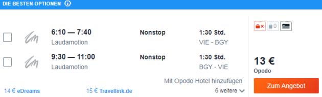 Flug Wien Mailand