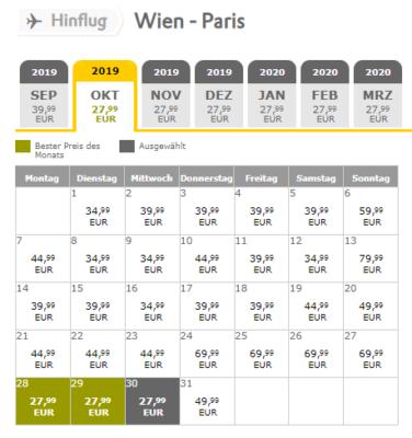 Flug Wien Paris