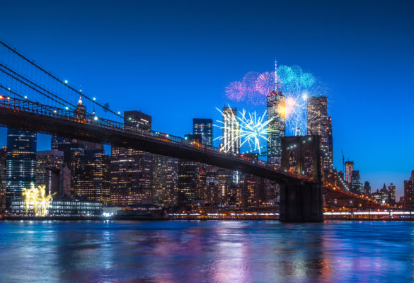 New York Winter Silvester Feuerwerk Brooklyn Bridge