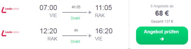 Flug Wien Marrakesch
