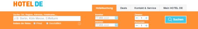 Hotel.de Suche