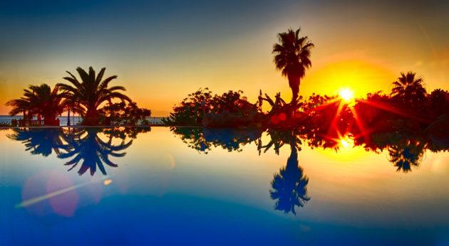 Türkei Side Pool Sonnenuntergang