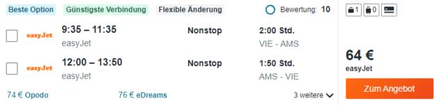 Flug Wien Amsterdam