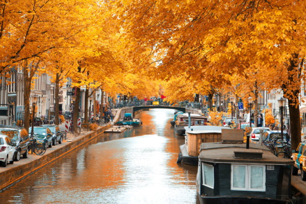 Niederlande Amsterdam Kanal Herbst