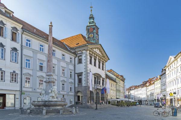 Slowenien Ljubljana Marktplatz