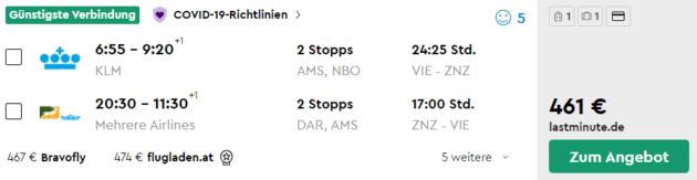 Flug Wien Sansibar