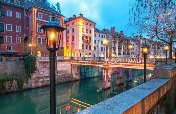 Slowenien Ljubljana Abend