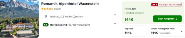 Screenshot: 2 Tage Bayern Alpenhotel