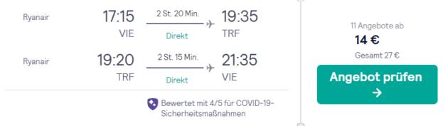 Screenshot: 3 Tage Oslo Flug
